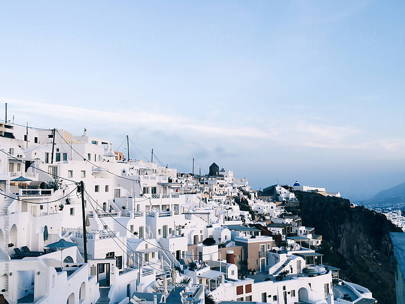 View of Thira, Santorini by Kirstin Mckee for Stocksy United