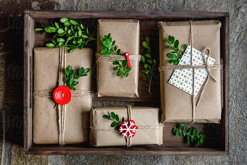 Christmas gifts in crate by Pixel Stories for Stocksy United