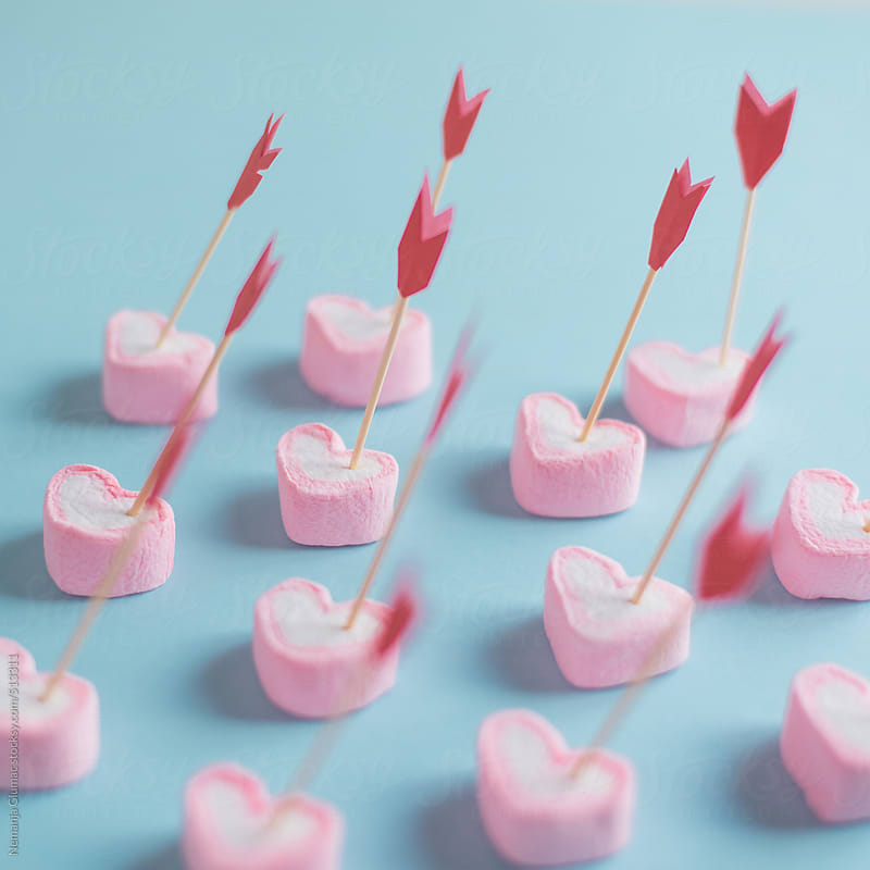 Valentine's Day Decoration With Pink Heart Shape Marshmallows  by Nemanja Glumac for Stocksy United