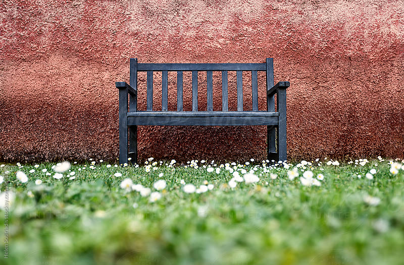Blue bench against a red wall in the spring by Helen Sotiriadis for Stocksy United
