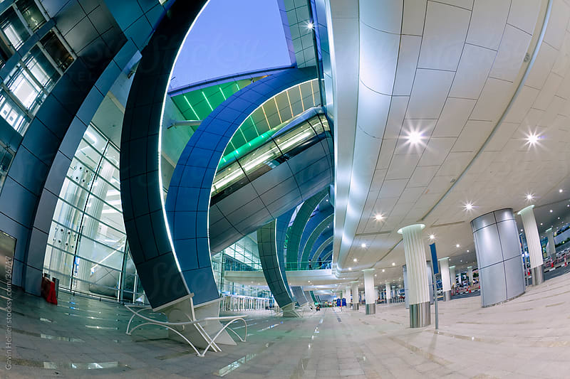 Stylish modern architecture, Terminal 3 of Dubai International Airport, Dubai, UAE, United Arab Emirates by Gavin Hellier for Stocksy United