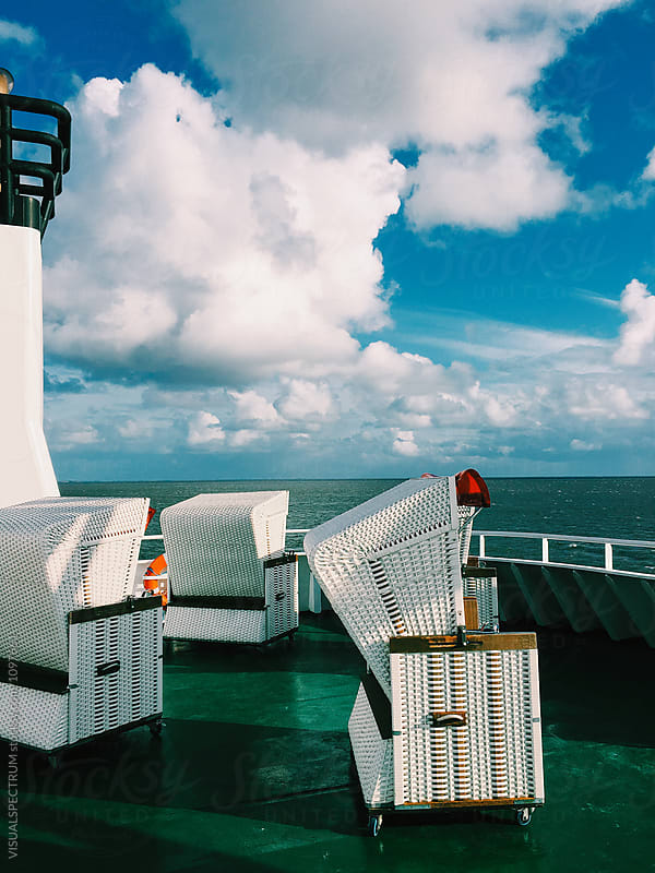 White Beach Chairs on North Sea Ferry Sun Deck by Julien L. Balmer for Stocksy United
