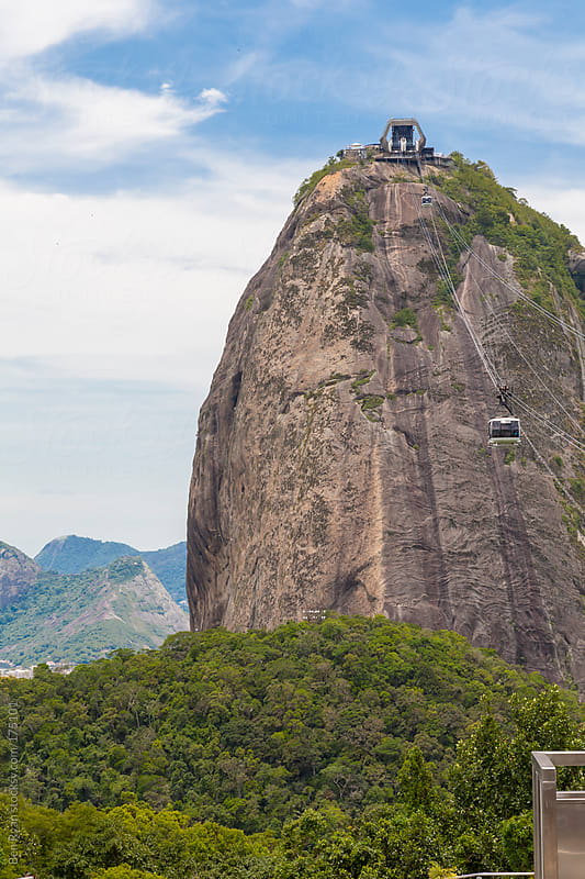 Cable cars rising to Sugarloaf Mountain, Rio, Brazil by Ben Ryan for Stocksy United