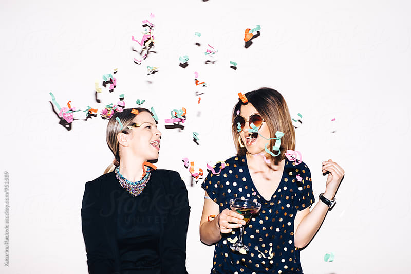 Two Girlfriends Having A Good Time At the Party by Katarina Radovic for Stocksy United