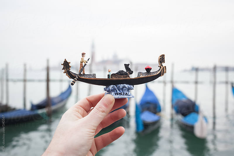 Hand Holding Gondola Souvenir in Venice by HEX. for Stocksy United