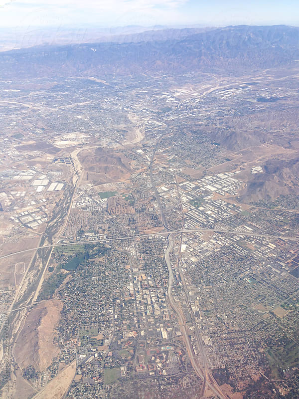 Los Angeles from an airplane by Luca Pierro for Stocksy United