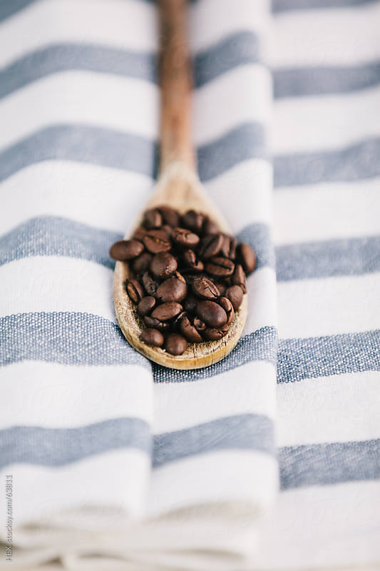 Wooden Spoon with coffee beans by HEX. for Stocksy United