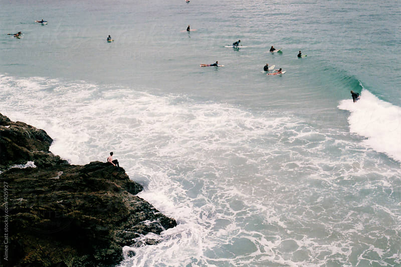 Surfers at Byron Bay by Aimee Catt for Stocksy United