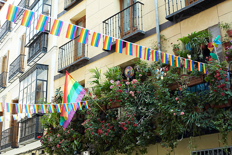 Balcony at the  Gay Pride fest in Madrid by Oscar Parasiego for Stocksy United