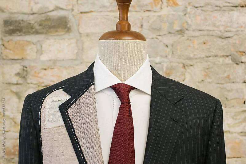 Closeup of Expensive Blue Pinstripe Suit on Hanger Stand by Julien L. Balmer for Stocksy United