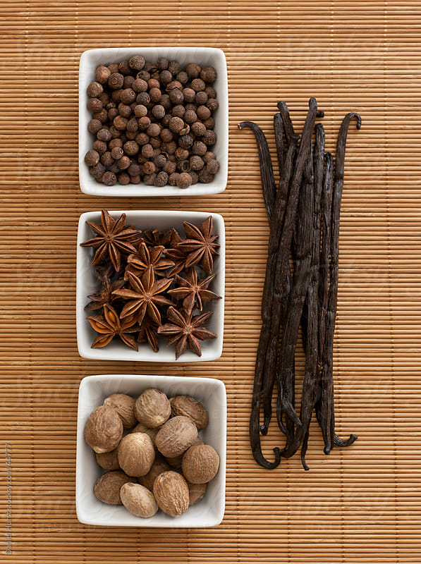 Overhead shot of spices: Allspice, Anise Star, Nutmeg & Vanilla  by Daniel Hurst for Stocksy United