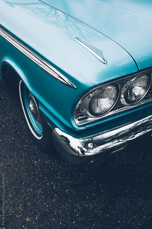 Detail of vintage car, focus on headlight by Paul Edmondson for Stocksy United