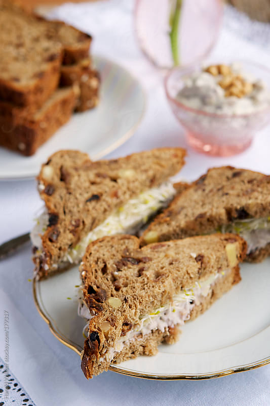 Raisin Bread with a Vegan Cream Cheese and Nut Spread, Pears and Sprouts by Harald Walker for Stocksy United