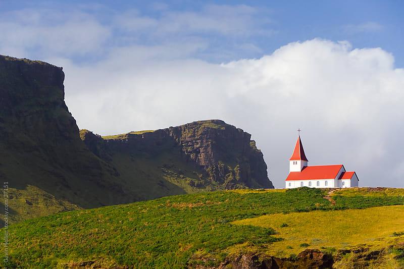 Church, village of Vik (Vik a Myrdal), Iceland, Polar Regions  by Gavin Hellier for Stocksy United