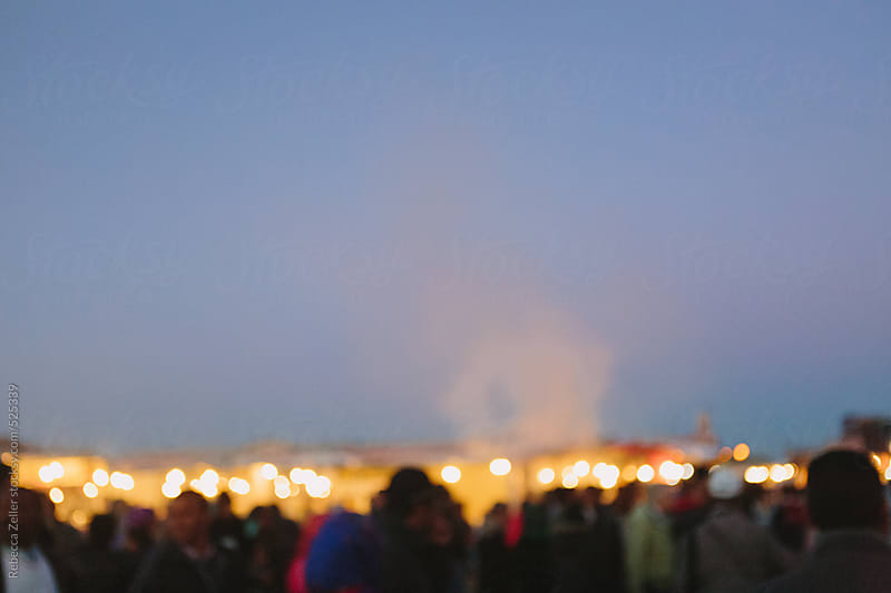 dusk over the main square in marrakech, morocco by Rebecca Zeller for Stocksy United