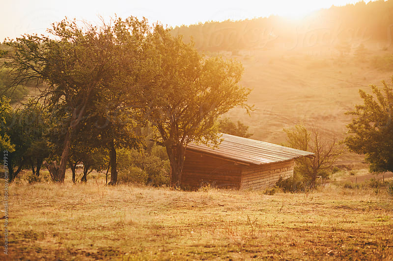 Wooden cabin by sunset by Aleksandar Novoselski for Stocksy United