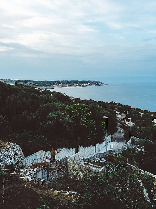 Beautiful view at twilight of the Apulia coast in Italy by Good Vibrations Images for Stocksy United