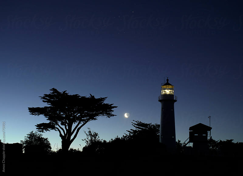 Lighthouse and tree with rising moon. by Amos Chapple for Stocksy United