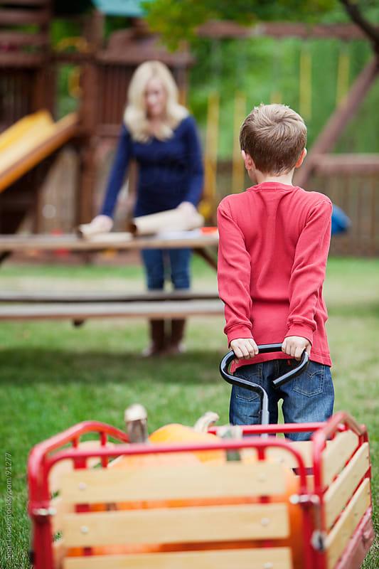 Pumpkins: Boy Pulling Heavy Wagon Of Pumpkins by Sean Locke for Stocksy United