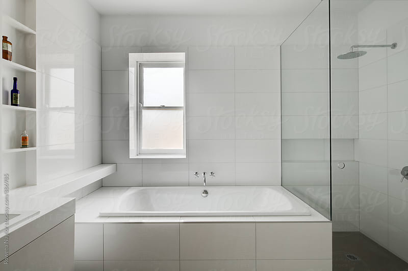 Brand new white bathroom by Rowena Naylor for Stocksy United