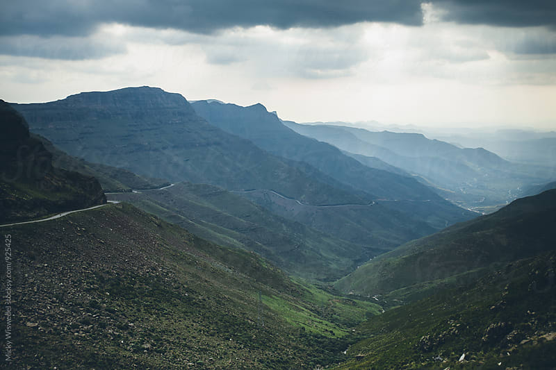 Landscape of a valley and mountain pass in Lesotho by Micky Wiswedel for Stocksy United