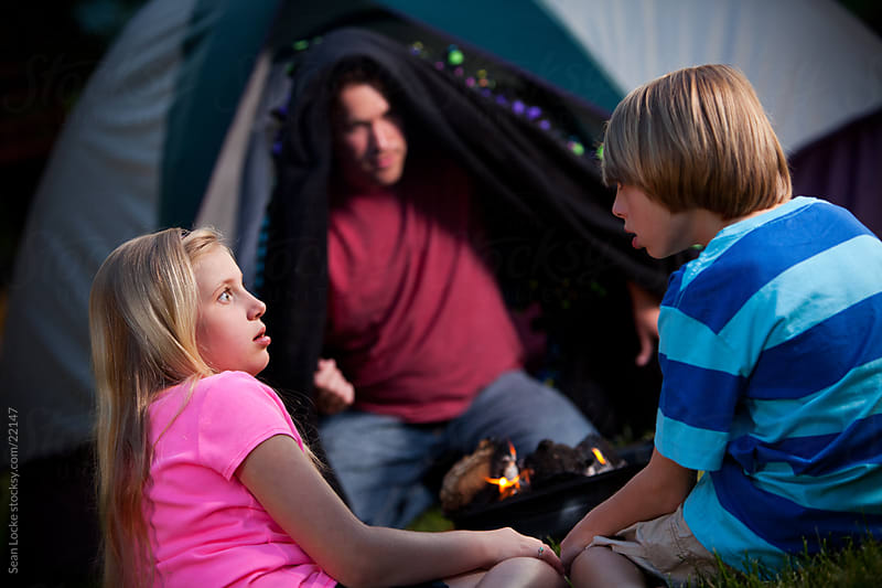 Camping: Kids Scared by Ghost Story by Sean Locke for Stocksy United