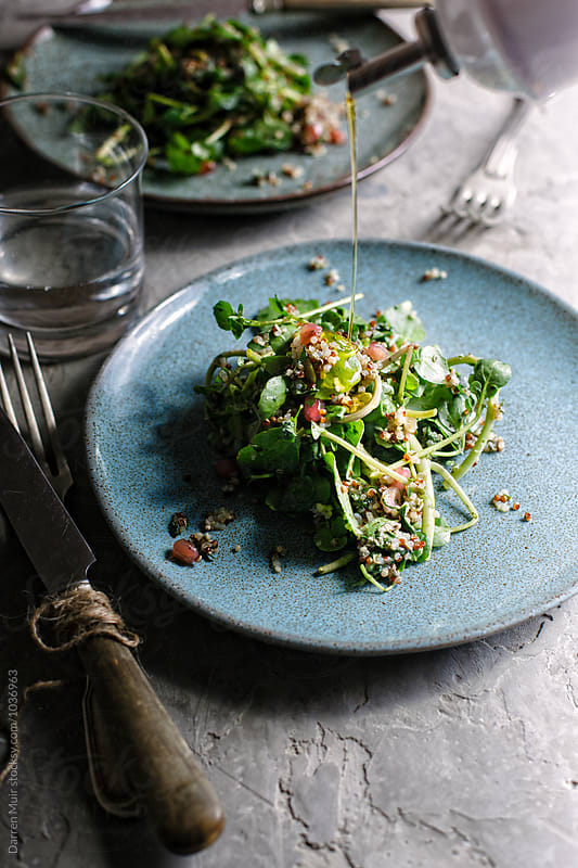 Quinoa, pomegranate and watercress salad. by Darren Muir for Stocksy United