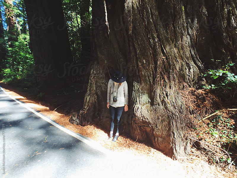 Young Woman Wearing Fedora Standing Against Giant Redwood Tree by Luke Mattson for Stocksy United