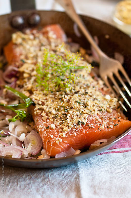 fillet of salmon stuffed  by Laura Adani for Stocksy United