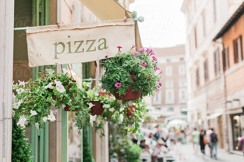 Pizza Sign and Potted Plants on the Streets of Rome, Italy by Briana Morrison for Stocksy United