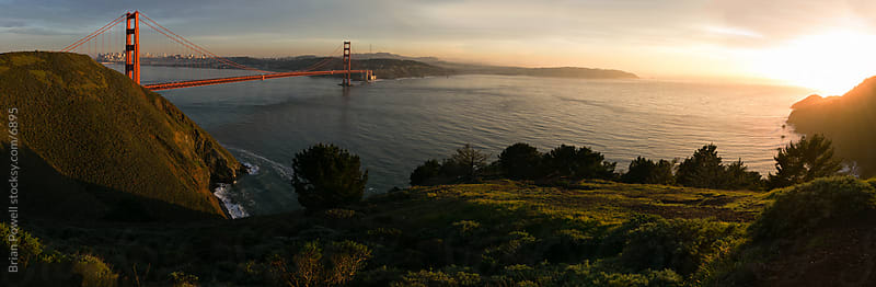 Golden Gate Bridge panoramic at sunset by Brian Powell for Stocksy United