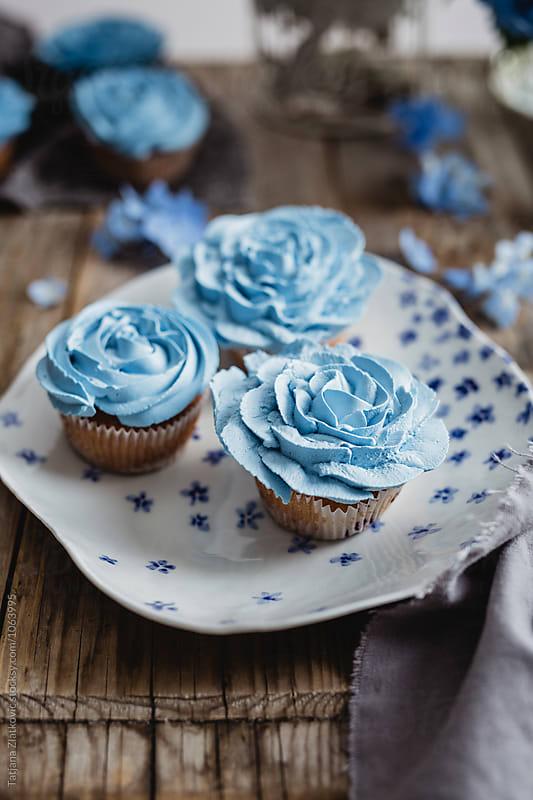 Blue cupcakes by Tatjana Zlatkovic for Stocksy United