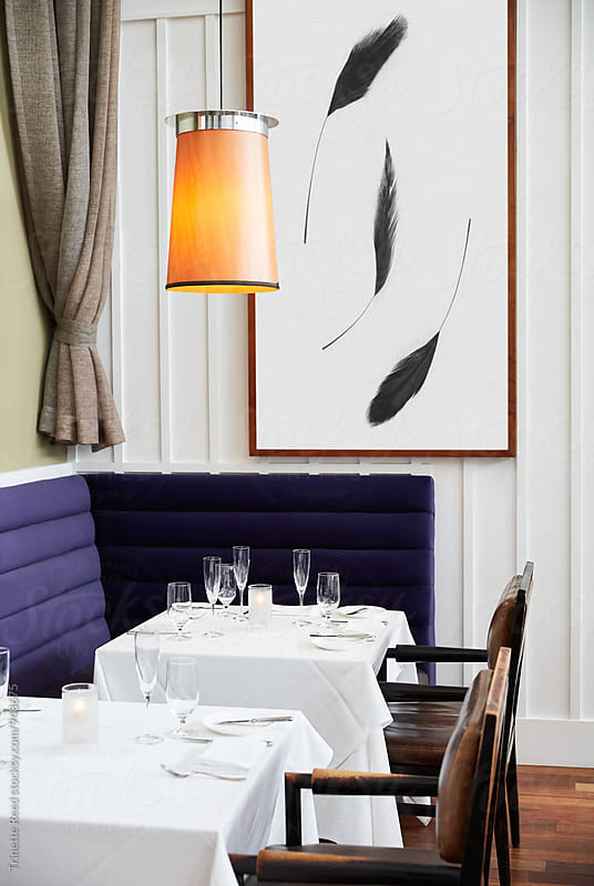 Empty Tables in Fine Dining Restaurant by Trinette Reed for Stocksy United