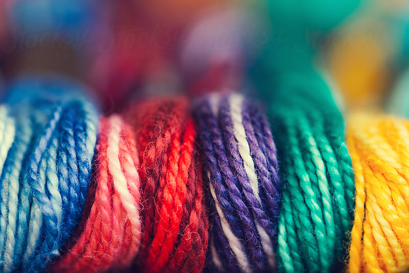 Macro of colorful craft thread by Kerry Murphy for Stocksy United