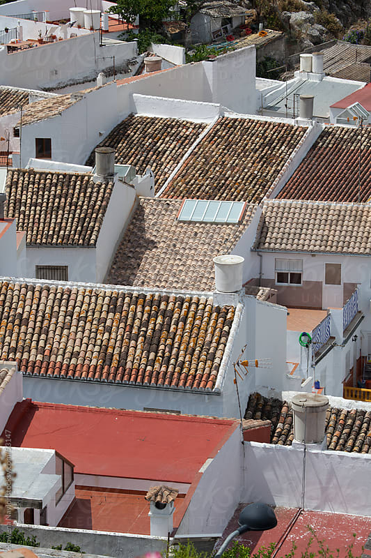 Detail of Terracotta Rooftops in Spanish Village by Rowena Naylor for Stocksy United