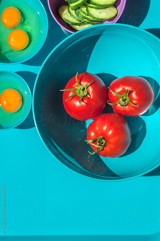 colorful, food in colorful pots, minimal, graphic design by Igor Madjinca for Stocksy United