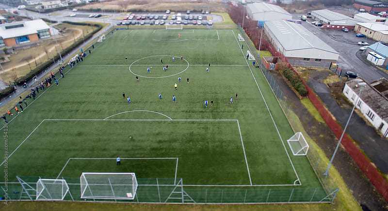 Aerial view of an artificial astro-turfed soccer pitch by Andy Campbell for Stocksy United
