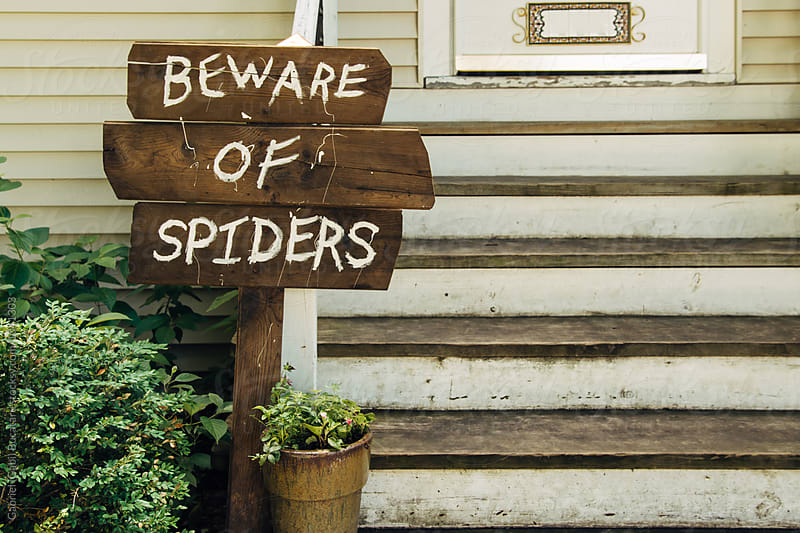 Wooden Beware of Spiders sign by a house by Gabriel (Gabi) Bucataru for Stocksy United