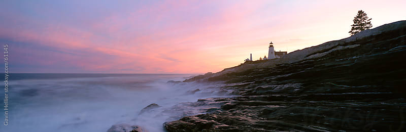 Low angle view of a lighthouse at the coast, Pemaquid Point, Bristol, Maine, USA by Gavin Hellier for Stocksy United