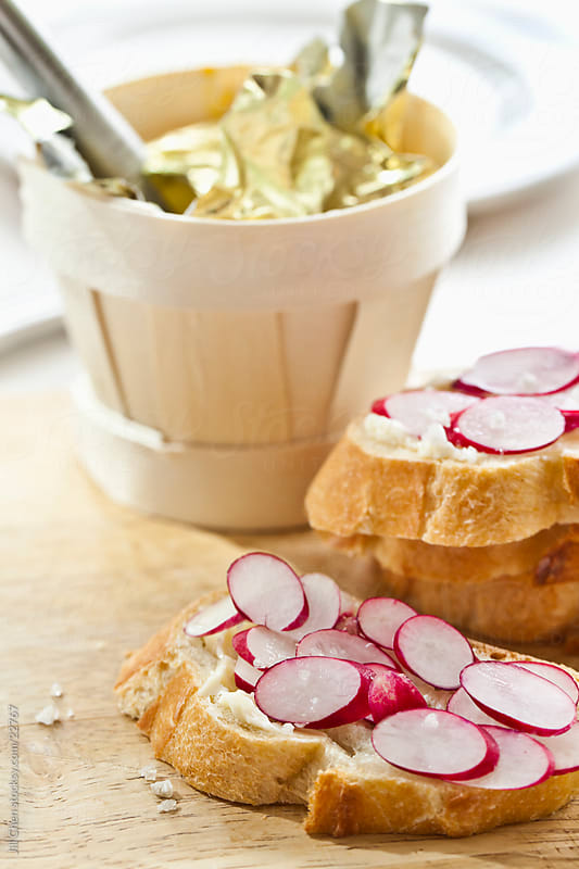 Bread, Butter and Radishes. by Jill Chen for Stocksy United