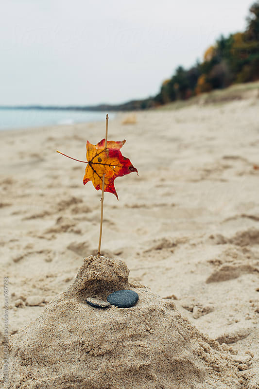 Colorful autumn leaf flag on a sandcastle by Gabriel (Gabi) Bucataru for Stocksy United