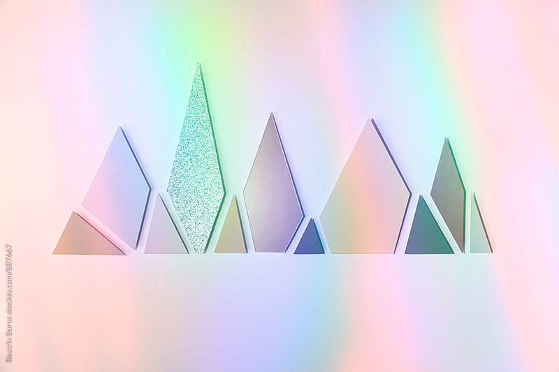 Various colorful shapes with colourful light reflection by Beatrix Boros for Stocksy United