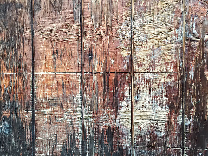 Peeling paint on piece of old wood, close up by Paul Edmondson for Stocksy United