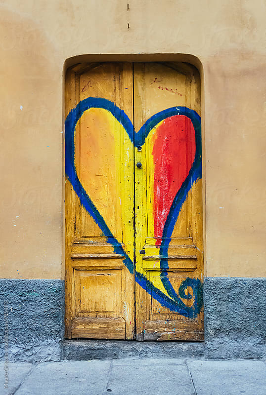 Heart painted on door by Mauro Grigollo for Stocksy United