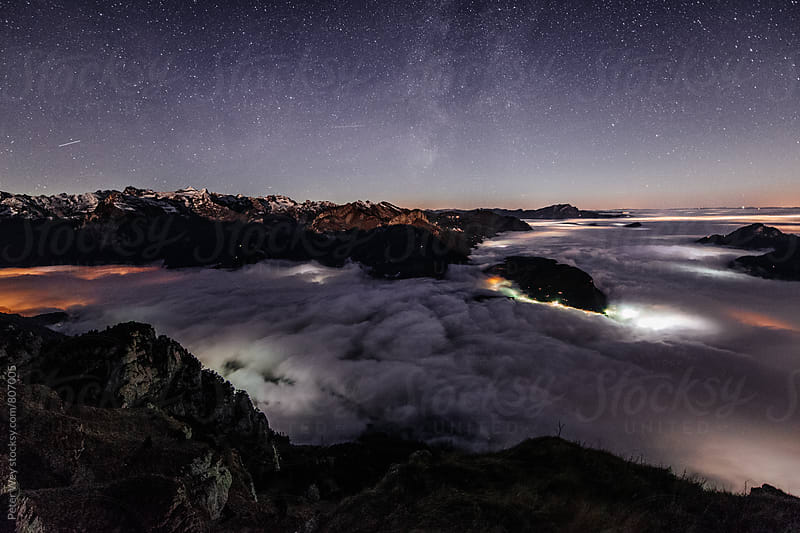 Nightscape from Fronalpstock by Peter Wey for Stocksy United
