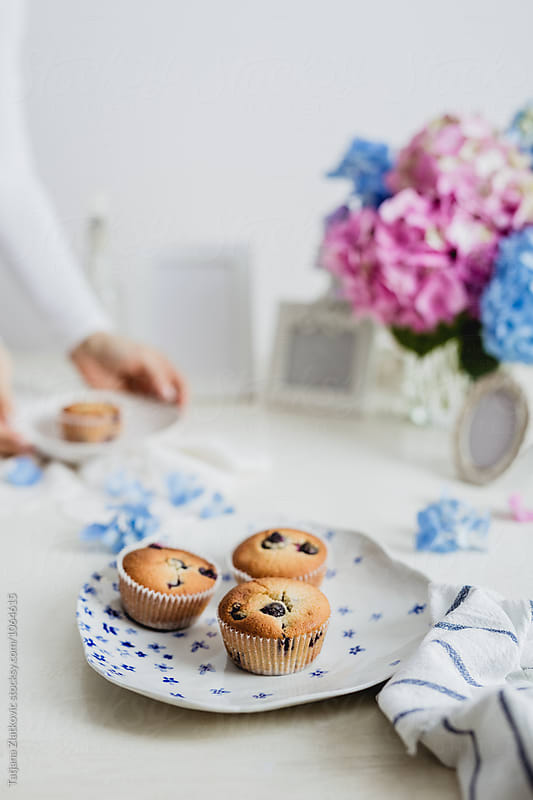 Homemade blueberry muffins by Tatjana Ristanic for Stocksy United