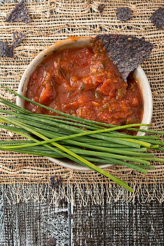 Organic Blue Corn Nacho Chips and Salsa by Jeff Wasserman for Stocksy United
