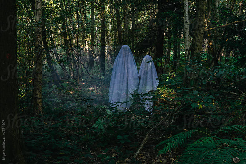 Mother and child ghosts in the woods by kkgas for Stocksy United