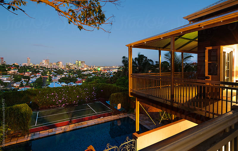 a view of the city from the veranda, Brisbane, Australia by Gillian Vann for Stocksy United