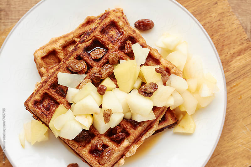 Apple Cinnamon Waffles with Boiled Cider Sauce by Harald Walker for Stocksy United